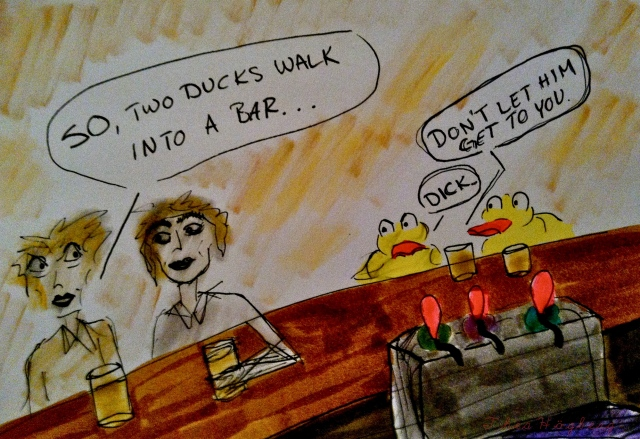 Ducks in a bar